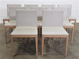 Sale 9171 - Lot 1019 - Good set of 9 El chairs by Antonia Citterio for B&B Italia in cream leather upholstery (h:81 x w:41 x d:47cm