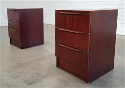 Sale 9188 - Lot 1145 - Pair of vintage bedside chests with three drawers (h:66 x w:44 x d:44cm