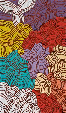 Sale 9214 - Lot 568 - GLENYS GIBSON NUNGURRAYI (1968 - ) Womens Ceremony acrylic on canvas 120 x 203 cm (stretched and ready to hang) signed verso; certi...