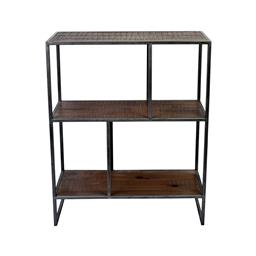 Sale 9245T - Lot 76 - An industrial inspired display / bookcase made with reclaimed timber & aged pewter metal frame. Dimensions: H 86 x W 70 x D 32cm