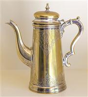 Sale 8259A - Lot 18 - A Georgian Style Silvered Coffee Pot, typically modelled having a single scrolled handle fitted to one side, h 20cm