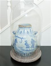 Sale 8308A - Lot 155 - A Chinese blue and white vase depicting scholars in a landscape with two handles in glass dome with timber base, H of dome and base...