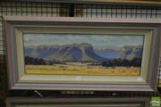 Sale 8537 - Lot 2163 - Robert Wilmot, Blue Mountains Escarpment, oil on canvas on board, frame size: 40 x 77.5cm, signed lower right