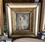 Sale 8730B - Lot 41 - Ornate Metal & Ivory Framed Handpainted Miniature depicting a Lady L:17cm