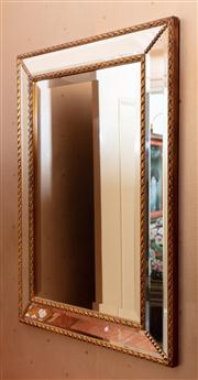 Sale 8815A - Lot 18A - A contemporary bevelled edge recluse mirror, with gilt rope effect border H 75cm, W 75cm