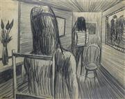 Sale 8972A - Lot 5022 - Charles Blackman (1928 - 2018) - Interior with Two Figures, c1951 50 x 63 cm