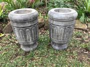 Sale 9015G - Lot 19 - Pair Carved Genuine Stone Urn/Planter .Appears to have crack line or previous repair to base on One Base Of Urn Size Urn 43cm H .