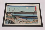 Sale 9040 - Lot 12 - River themed Japanese woodblock print marked Hiroshige (38.5cm x 25.5cm)