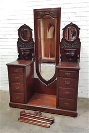 Sale 9068 - Lot 1059 - Edwardian Pine Cheval Dressing Chest, with elongated shield shaped mirror, flanked by tall pedestals with oval mirrors, small shelve...