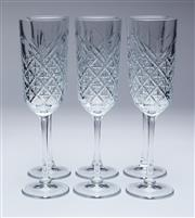 Sale 9080J - Lot 96 - A set of 6 tall crystal champagne flutes Ht: 22cm