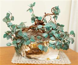 Sale 9164H - Lot 45 - A greenstone and copper wired tree on heavy stone base, width 35cm