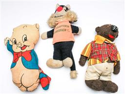 Sale 9168 - Lot 68 - Collection of 3 vintage fabric dolls ins Porky Pig and Sylvester the Cat (L:36cm)