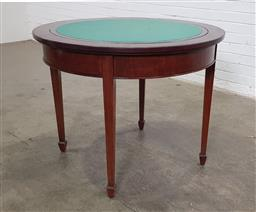 Sale 9179 - Lot 1088 - Georgian Style Games Table, the round top with plain and reversible green baize top, raised on tapering legs with spade feet (h:77 x...