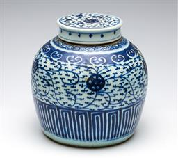 Sale 9255S - Lot 43 - An Antique blue and white chinese lidded ginger jar Height 22cm