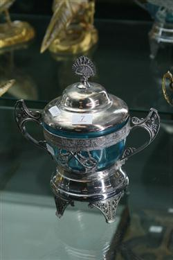 Sale 7914 - Lot 7 - Victorian Silver Plated & Blue Glass Lidded Sugar Bowl