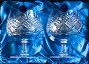 Sale 8270 - Lot 59 - A pair of English Thomas Webb hand cut lead crystal brandy balloons in presentation box