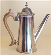 Sale 8259A - Lot 19 - A 19th Century Georgian Style Silvered Coffee Pot, 	typically modelled, h 18cm