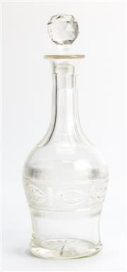 Sale 8269A - Lot 72 - An unmarked crystal decanter with stopper and cut glass decoration, H 30cm
