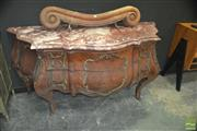 Sale 8328 - Lot 1010 - Serpentine Front Marble Top Bombay Chest