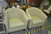 Sale 8331 - Lot 1559 - Pair of Green Upholstered Tub Chairs