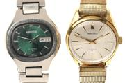 Sale 8517 - Lot 326 - TWO VINTAGE SEIKO AUTOMATIC WATCHES; 5 ACTUS of cushion form, green dial, date, centre seconds, 21 jewell movement, other with sunbu...