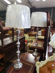 Sale 8566 - Lot 1429 - Pair of Tall Chrome Base Table Lamps (5779) ( 116.5)