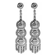 Sale 8721 - Lot 379 - A PAIR OF DECO STYLE STONE SET EARRINGS; set in silver with zirconias to stud fittings, length 48mm.