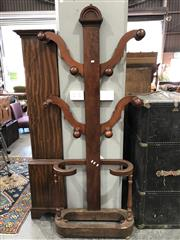 Sale 8792 - Lot 1001 - Victorian Mahogany Hall Tree, with four branches & stick stand (missing tray)