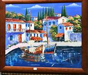 Sale 8794 - Lot 2053 - T. Herbert - Mediterrenean Scene acrylic on board, 61.5 x 70cm (frame), signed lower right