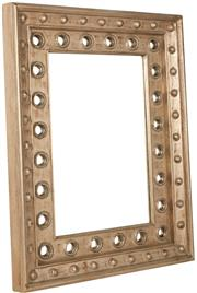 Sale 9010F - Lot 82 - A SILVER GILT DECORATIVE RESIN WALL MIRROR WITH RING DETAILS H:133W:103D:10cm