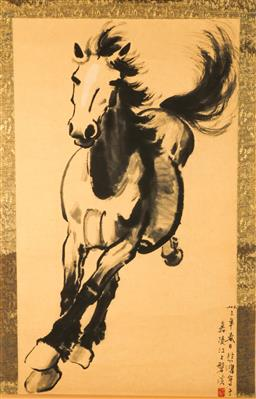 Sale 9119 - Lot 119 - A horse themed Chinese scroll (L: 170cm W:70cm)