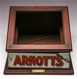 Sale 9136 - Lot 255 - A timber display cabinet marked Arnotts (some damage) (missing glass) (H:23cm W:32cm D:37cm)