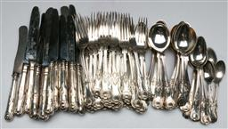 Sale 9138 - Lot 172 - A Mismatched Queens Pattern Silver Plated Cutlery Service