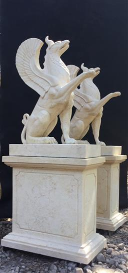Sale 9175G - Lot 1 - Pair of Carved Marble Stone Griffin Statues on Stands .Each Consist of 2 parts(statue and base ) .Size With Stand :145cm H x 63cm L...