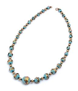 Sale 9194 - Lot 338 - A HANDMADE VENETIAN GLASS BEAD NECKLACE; graduated 7-16m round turquoise colour beads with black and pink swirl overlays and gilt hi...