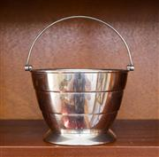 Sale 8270 - Lot 60 - Art Deco Silcraft silverplate swing handle ice bucket with drainer, c: 1940's, D 14cm