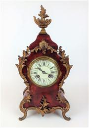 Sale 8362A - Lot 15 - An antique 19th Century French Rococo red boulle mantel clock by Japy Freres, with key and pendulum, Ht: 40 cm