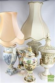 Sale 8494 - Lot 31 - Capodimonte Lidded Vases And Lamps With Shades