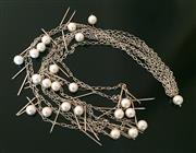 Sale 8562A - Lot 180 - A funky good quality four strand white metal and beaded necklace, drop 54cm