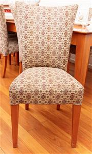Sale 8891H - Lot 45 - A set of six fabric covered dining chairs, Height of back 93cm (wear to upholstery)