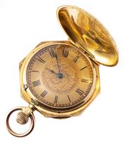 Sale 8991 - Lot 348 - AN 18CT GOLD LADYS POCKET WATCH; 2 tone golden dial, Roman numerals, blued hands, stem wind, lever set at 4 oclock, finely engrave...