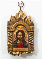 Sale 9044H - Lot 103 - A carved timber hand painted Byzantine Icon in the traditional style, painted with tempera and 22 carat gold leaf, Height 19cm