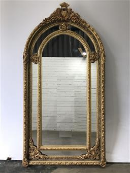 Sale 9102 - Lot 1062 - Ornate French style gilt framed mirror (h:200 x w:107cm)