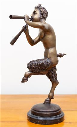 Sale 9103M - Lot 742 - A brass figure of Pan with signature to base, raised on marble base, total Height 47cm
