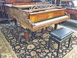 Sale 9126 - Lot 1109 - Late 19th Century Ernst Kaps Burr Walnut Grand Piano, numbered 4671 indicating a date around 1878 (h:93 x w:137 x D180cm)
