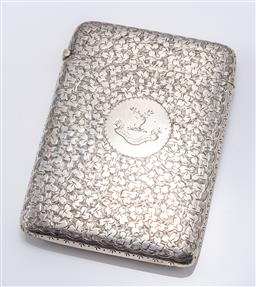 Sale 9180E - Lot 33 - An English hallmarked sterling silver card case with cartouche to front markedVinco Virtute, Birmingham, c. 1898, by Cornelius Des...