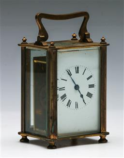 Sale 9164 - Lot 75 - A Brass Cased Carriage Clock (H:13.5cm)
