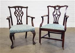 Sale 9196 - Lot 1088 - George III Mahogany Armchair Together with a Later Copy, the original with vase shaped splat & rococo carving, above a blue drop-in...