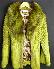 Sale 7982B - Lot 9 - Giorgio, Italia dyed green fur collared and belted Jacket with Cheetah print lining (M)