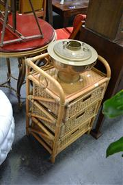 Sale 8019 - Lot 1048 - Cane Side Table w 3 Drawers